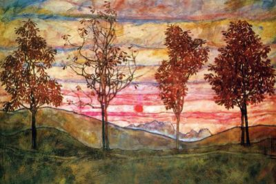 Four Trees by Egon Schiele
