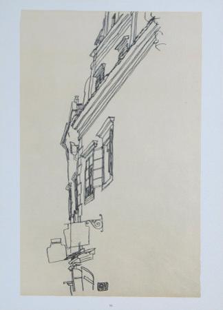 Gabled Houses at Krumau, 1917 by Egon Schiele