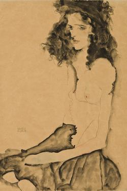 Girl with Black Hair, 1911 by Egon Schiele