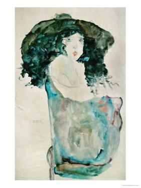Girl with Blue-Black Hair and Hat, 1911 by Egon Schiele