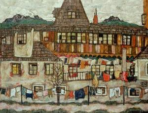 Haus mit trocknender Waesche (House with drying laundry), 1917 by Egon Schiele