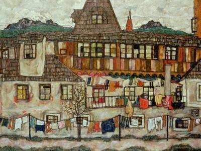 Haus mit trocknender Waesche (House with drying laundry), 1917 by Egon Schiele