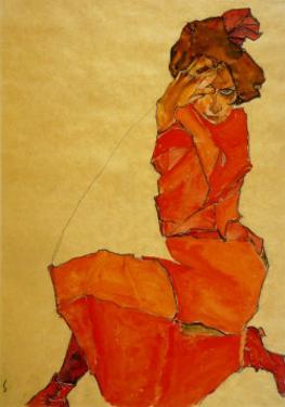 Kneeling Female in Orange Dress, c.1910 by Egon Schiele