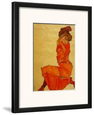 Kneeling Female in Orange Dress, c.1910 by Egon Schiele
