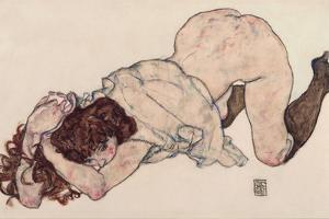Kneeling Girl, Resting on Both Elbows, 1917 by Egon Schiele