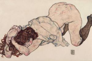 Kneeling Girl, Resting on Both Elbows, 1917 by Egon Schiele
