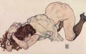 Kneeling Girl, Resting on Both Elbows by Egon Schiele