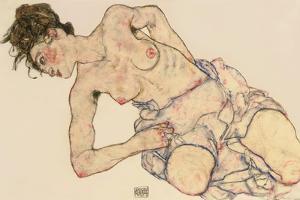 Kneider Weiblicher Halbakt, 1917 by Egon Schiele