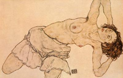 Knielende, Halfnaakte Vrouw, Naar Links Gebogen by Egon Schiele