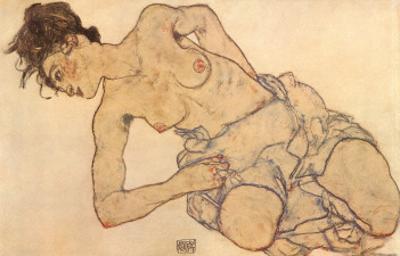 Knielende Halfnaakte by Egon Schiele