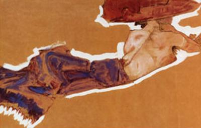 Liegender Halbakt Mit by Egon Schiele