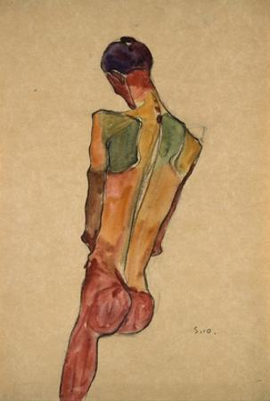 Male Nude, Back View by Egon Schiele