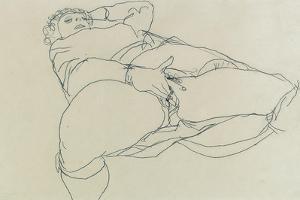 Masturbating Woman with Legs Spread, 1913 by Egon Schiele