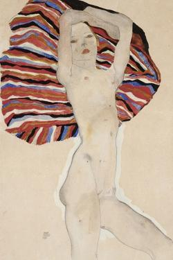 Nude Against Coloured Material, 1911 by Egon Schiele