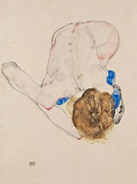 Nude with Blue Stockings, Bending Forward, 1912 by Egon Schiele