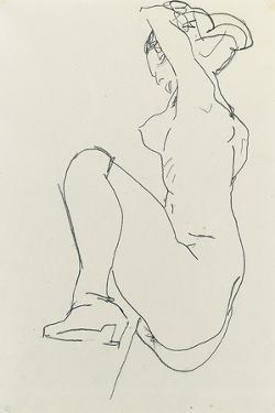 Prostrate Female Nude, 1913 by Egon Schiele