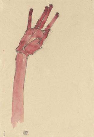Raised Red Hand, 1910 by Egon Schiele