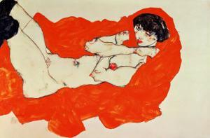 Reclining Female Nude on Red Drape, 1914 by Egon Schiele