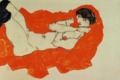 Reclining Female Nude on Red Drape, 1914