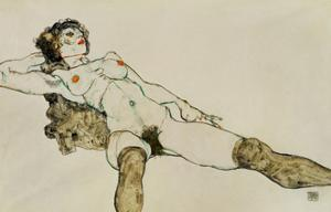 Reclining female nude with legs spread 1914 by Egon Schiele