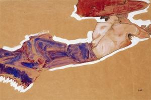 Reclining Semi-Nude with Red Hat, 1910 by Egon Schiele