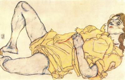 Reclining Woman with Yellow Dress by Egon Schiele