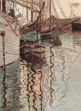 Egon Schiele (Sailboats in wellenbewegtem Water (The Port of Trieste)) Art Poster Print