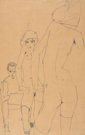 Schiele with Nude Model before the Mirror, 1910 by Egon Schiele