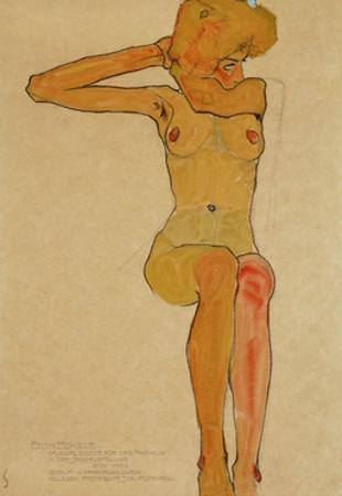 Seated female nude with raised right arm,1910 Gouache by Egon Schiele