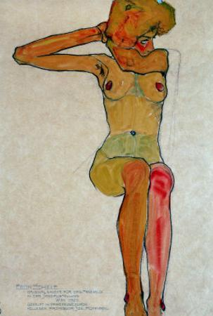 Seated Female Nude with Raised Right Arm, 1910