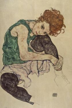 Seated Woman with Bent Knee, 1917 by Egon Schiele