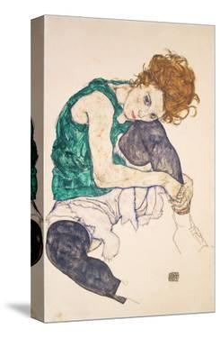 Seated Woman with Legs Drawn Up (Adele Herms), 1917 by Egon Schiele