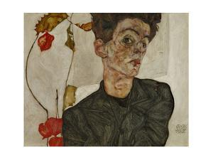 Self-portrait with Chinese lantern and fruits. Oil and body colour on wood (1912) 32.2 x 39.8 cm by Egon Schiele