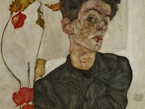 Self-Portrait with Chinese Lantern and Fruits by Egon Schiele