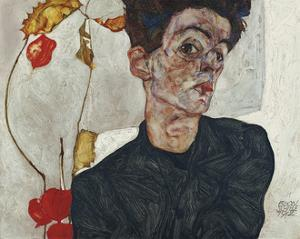Self-Portrait with Chinese Lantern Plant, 1912 by Egon Schiele