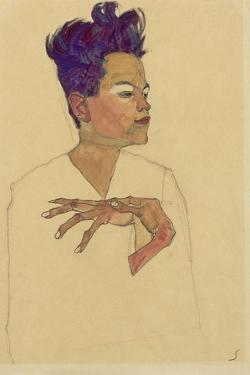 Self-Portrait with Hands on Chest, 1910 by Egon Schiele