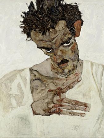 Self-Portrait with Lowered Head, 1912 by Egon Schiele