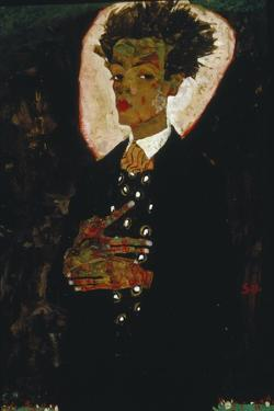 Self-Portrait with Peacock Vest Standing, 1911 by Egon Schiele