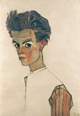Self-Portrait with Striped Shirt by Egon Schiele