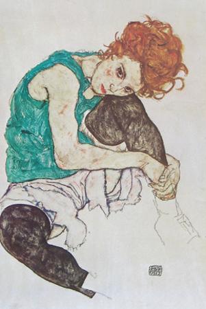 Sitting Woman by Egon Schiele