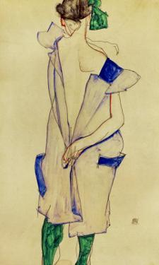 Standing Girl in Blue Dress and Green Stockings, 1913 by Egon Schiele