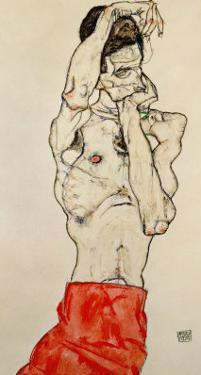 Standing Male Nude with Red Loincloth, 1914 by Egon Schiele