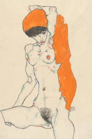 Standing Nude with Orange Drapery, 1914 by Egon Schiele