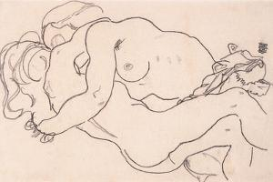 Two Embracing Female Nudes, 1918 by Egon Schiele