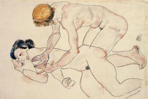 Two Female Nudes, Reclining and Kneeling by Egon Schiele