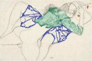 Two Friends, Reclining (Tenderness), 1913 (Pencil and Tempera on Paper) by Egon Schiele
