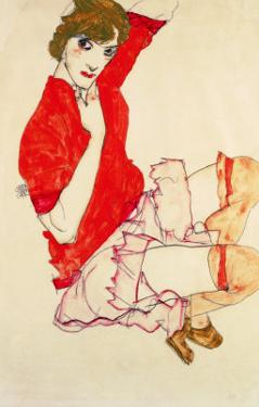 Wally in Red Blouse with Raised Knees, 1913 by Egon Schiele