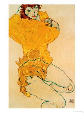 Woman Undressing, 1914 by Egon Schiele