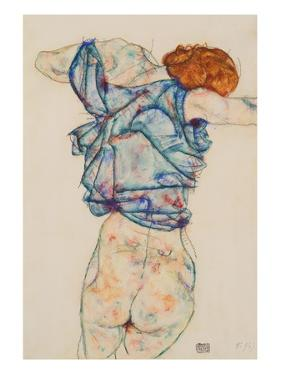 Woman Undressing by Egon Schiele