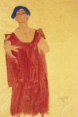Woman with Blue Hair; Frau Mit Blauem Haar, 1918 by Egon Schiele